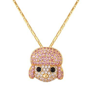 povoljno Modne ogrlice-Žene Kubični Zirconia Ogrlice s privjeskom Long Psi dame Moda Kamen Zlato Pink 55 cm Ogrlice Jewelry 1pc Za Dar Dnevno