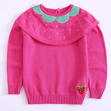 cheap Girls' Sweaters & Cardigans-Toddler Girls' Active Daily Fruit Print Long Sleeve Regular Cotton Sweater & Cardigan Blushing Pink