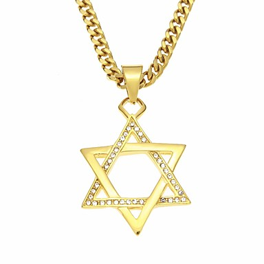 cheap Pendant Necklaces-Men's AAA Cubic Zirconia Pendant Necklace Hollow Out Long Star Pentagram Stylish Simple Casual / Sporty scottish Steel Stainless Gold 70 cm Necklace Jewelry 1pc For Gift Going out