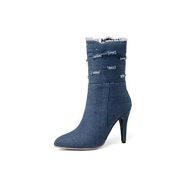voordelige Dameslaarzen-Dames Laarzen Naaldhak Gepuntte Teen Denim Kuitlaarzen Cowboy / Westernlaarzen Herfst winter Zwart / Lichtblauw / Donkerblauw / EU37