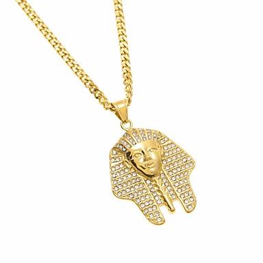 povoljno Modne ogrlice-Muškarci Kubični Zirconia Izjava Ogrlice Duga ogrlica Vintage Style Skulptura glava Zamisliti Umjetnički Europska Drevni Egipt Egipćanin nehrđajući Zlato 70 cm Ogrlice Jewelry 1pc Za Halloween Klub