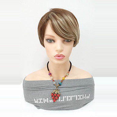 Synthetic Wig Straight Black Blonde Side Part Hair Short Length Women Highlighted Balayage With Bangs S