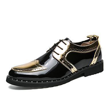 저렴한 Shoes Trends-남성용 구두 에나멜 가죽 / Synthetics 가을 겨울 컴포트 / 브리티쉬 옥스포드 일상 용 할로우 골드 / 블랙 / 슬리버 / 컬러 블럭