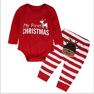 cheap Clearance-Baby Boys' Basic Daily Solid Colored Long Sleeve Regular Clothing Set Red / Toddler