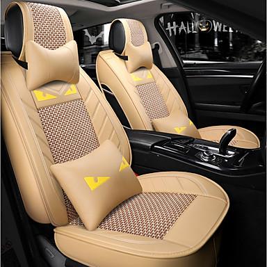 billige Interiørtilbehør til bilen-5 seter beige tegneseriebil setetrekk med to nakkestøtter og to midjeputer / pu lær og issidemateriale / kollisjonspute / airbag universal