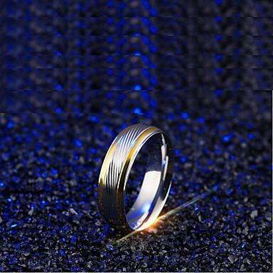 voordelige Dames Sieraden-Heren Bandring 1pc Zilver Titanium Staal Lijnvorm Eenvoudig Bruiloft Dagelijks Sieraden Tweekleurig Double Twine Golf Cool