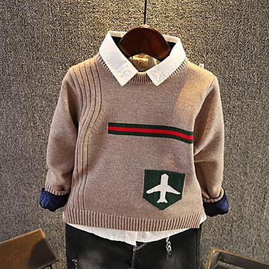 preiswerte Pullover & Strickjacken für Jungen-Kinder Jungen Street Schick Alltag Ausgehen Jacquard Langarm Standard Pullover & Cardigan Rote