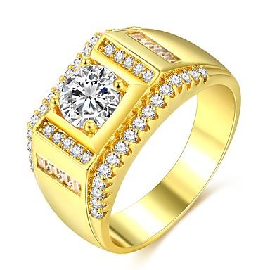 aac115194291 ... Elegante Solitario Anillo Anillo de Compromiso Chapado en oro 18K  Diamante Sintético Precioso Clásico Moda Hip-Hop Dubai Anillos de Moda Joyas  Dorado ...