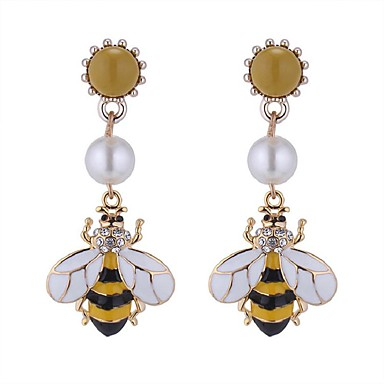 povoljno Modne naušnice-Žene Viseće naušnice Long Pčela dame Vintage Etnikai Moda Imitacija bisera Umjetno drago kamenje Naušnice Jewelry Bijela Za Party Izlasci 1 par