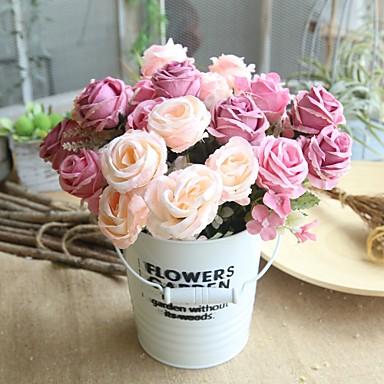 preiswerte Meistverkauft-Künstliche Blumen 1 Ast Klassisch Rustikal Hochzeitsblumen Rosen Tisch-Blumen