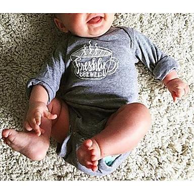 preiswerte BabyJungenoverall-Baby Jungen Grundlegend Druck Langarm Baumwolle Einzelteil Grau