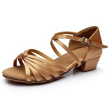 cheap Cheap Dance Shoes-Women's Dance Shoes Satin Latin Shoes Splicing Sandal / Heel Thick Heel Customizable Nude / Performance / Practice / EU40