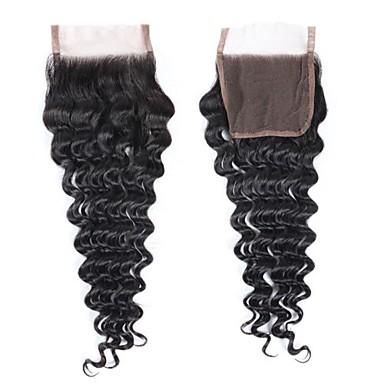 povoljno Postavljanje ekstenzija-Fulgent  Sun Brazilska kosa / Duboko Val 4x4 Zatvaranje Wavy Besplatno dio Švicarska čipka Ljudska kosa Žene Najbolja kvaliteta / Čišćenje čipke Božić / Božićni pokloni / Vjenčanje