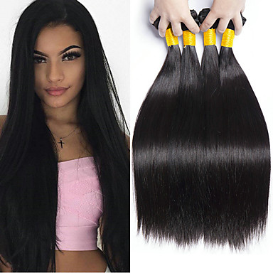 povoljno Ekstenzije od ljudske kose-4 paketića Brazilska kosa Ravan kroj Ljudska kosa Ljudske kose plete Bundle kose Jedan Pack Solution 8-28 inch Natural Prirodna boja Isprepliće ljudske kose Sigurnost Klasični Najbolja kvaliteta / 8A