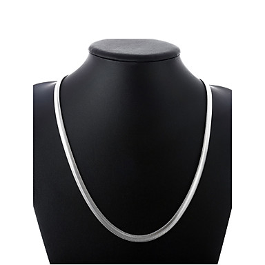 levne Pánské šperky-Pánské Řetízky Silný řetězec Jeden pruh Jednoduchý Základní Módní Měď Postříbřené Stříbrná 50 cm Náhrdelníky Šperky 1ks Pro Denní Street