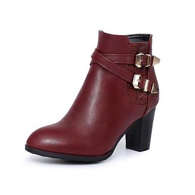 voordelige Dameslaarzen-Dames Laarzen Blokhak Ronde Teen Gesp PU Korte laarsjes / Enkellaarsjes Modieuze laarzen Herfst winter Zwart / Wijn / Donker Bruin / EU41