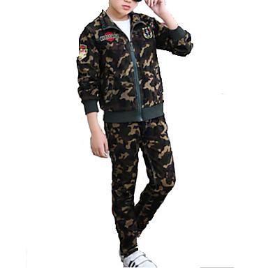 povoljno Odjeća za dječake-Djeca Dječaci Osnovni Jednobojni Dugih rukava Komplet odjeće Vojska Green