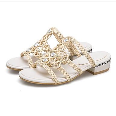 levne Dámské sandály-Dámské Sandály Nízký podpatek mikrovlákno Pohodlné Léto Béžová / Mandlová