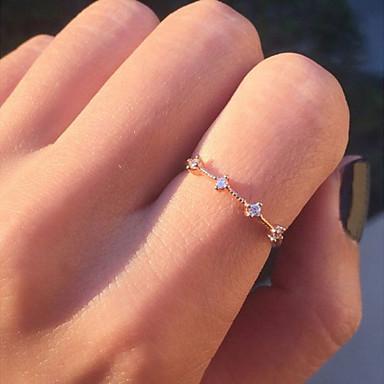billige Motering-Dame Tail Ring Diamant Krystall Kubisk Zirkonium 1pc Gull Sølv Legering Rund damer Koreansk Mote Gave Daglig Smykker Skulptur Blomst Kul