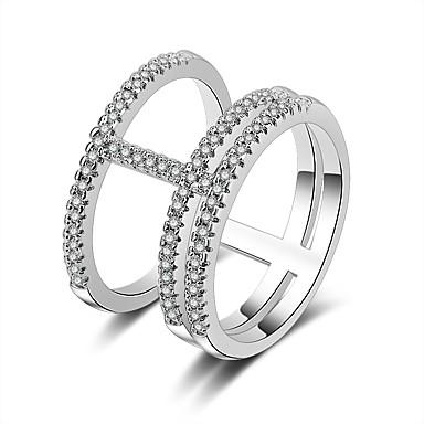 billige Båndringe-Dame Band Ring vikle ring Micro Pave Ring Kubisk Zirkonium liten diamant 1pc Sølv Kobber damer Daglig Kontor og karriere Smykker Hul