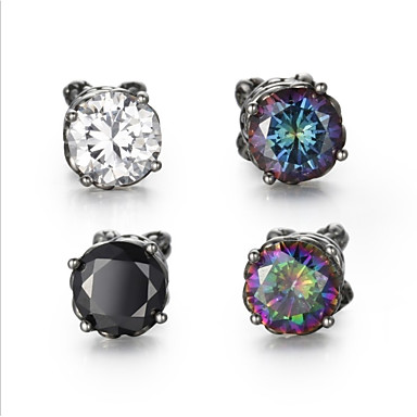 Men S Cubic Zirconia Vintage Style Solitaire Stud Earrings Stainless Precious Statement Stylish Black Rainbow Blue For Club Bar 6836020 2018
