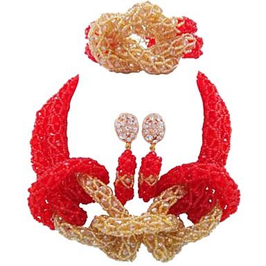 levne Dámské šperky-Dámské Strands Náhrdelník Vícevrstvé MOON dámy Módní Afričan Rakouský křišťál Náušnice Šperky Červená / Modrá / Světle hnědá Pro Svatební