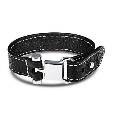 preiswerte Perlenarmband-Herrn Lederarmbänder Einzelkette Gewebe Hip-Hop Leder Armband Schmuck Schwarz Für Alltag Verabredung