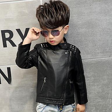 povoljno Odjeća za dječake-Djeca Dijete koje je tek prohodalo Dječaci Osnovni Dnevno Jednobojni Dugih rukava Normalne dužine Jakna i kaput Crn