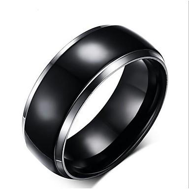 billige Motering-Herre Band Ring 1pc Svart Titanium Stål Volframstål Sirkelformet Geometrisk Form Unikt design Klassisk initial Bryllup Daglig Smykker Vintage Stil Kreativ Kul