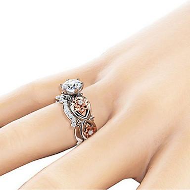 levne Pánské šperky-Pánské Prsten na více prstů Citrín 2pcs Stříbrná Měď Umělé diamanty stylové Klasické Svatební Denní Šperky Neshoda Kytky