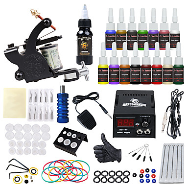 Tattoo Machine Starter Kit - 1 pcs Tattoo Machines with 15*5 ml tattoo inks, Safety, All in One, Easy to Setup Alloy LCD power supply 1 alloy machine liner & shader