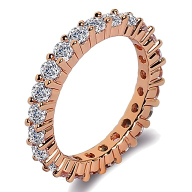 cheap Simulated Diamond Rings-Women's Band Ring Ring Eternity Band Ring 1pc Silver Rose Gold Brass Platinum Plated Rose Gold Plated Ladies Classic Trendy Wedding Gift Jewelry Stylish Round Cut Blessed Faith Cool