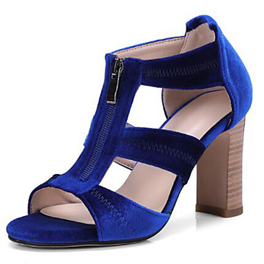 Femme Chaussures Daim Printemps été Salomé   Escarpin Basique Sandales  Talon Bottier Bout ouvert Noir   Rouge   Bleu de 6779390 2019 à  49.99 f280d60c9047