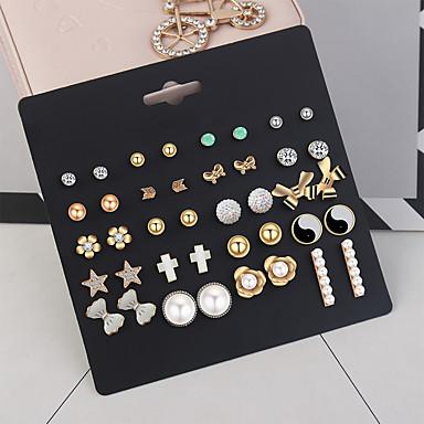 povoljno Modne naušnice-Žene Naušnice Set Disco Ball Cvijet Mašnice dame Jednostavan Europska Moda Imitacija bisera Umjetno drago kamenje Naušnice Jewelry Zlato Za Dnevno 20 parova