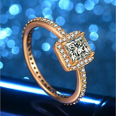 billige Engasjement-Dame Ring 1pc Gull 18K Gullbelagt Messing Fuskediamant Kube damer Unikt design trendy Bryllup Formell Smykker Elegant HALO Søtt