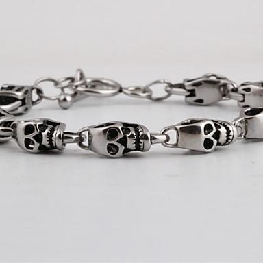 levne Pánské šperky-Pánské Klasické Náramky Retro Lebka kreativita Prohlášení Punk Titanová ocel Náramek šperky Stříbrná Pro Street Klub
