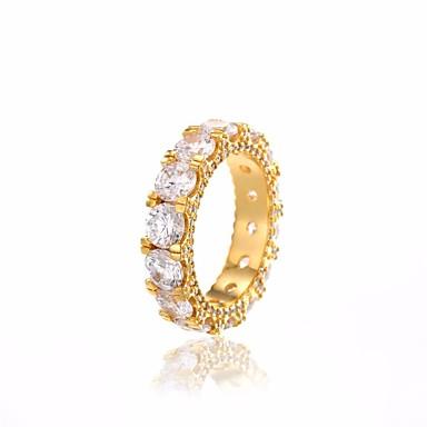 billige Motering-Par Ring Kubisk Zirkonium 1pc Gull Sølv Kobber Sirkelformet damer Klassisk Vintage Daglig Stevnemøte Smykker Klassisk Elegant Dyrebar Fred