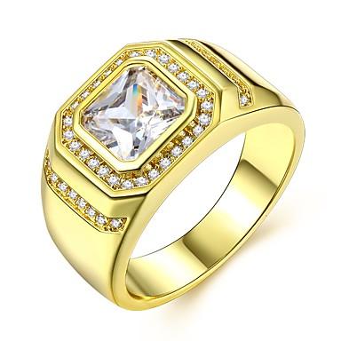 voordelige Herensieraden-Heren Ring 1pc Goud Messinki Gesimuleerde diamant 24K Gold Plated Luxe Klassiek Modieus Bruiloft Carnaval Sieraden Stijlvol patiencespel Radiant Cut Kostbaar Cool