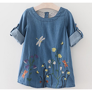 cheap Baby & Kids-Kids Girls' Basic Daily Solid Colored Embroidered Short Sleeve Above Knee Dress Blue