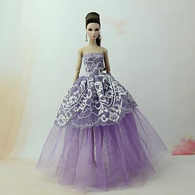levne Doplňky pro panenky-Šaty pro panenky Šaty Pro Barbie Krajka Fialová Tyl Krajka Směs bavlny Šaty Pro Dívka je Doll Toy