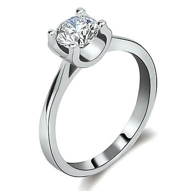 billige Engasjement-Dame Ring Løftering 1pc Sølv Messing Platin Belagt Fuskediamant damer Enkel Romantikk Engasjement Gave Smykker Elegant Solitaire Hjerte Alv Søtt Heart