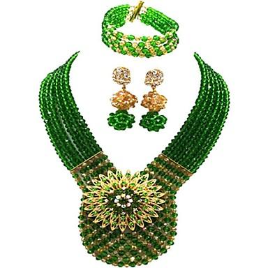 levne Dámské šperky-Dámské High End Crystal Strands Náhrdelník Vícevrstvé Řemeslník MOON dámy Módní Rakouský křišťál Náušnice Šperky Červená / Zelená / Světle hnědá Pro Párty