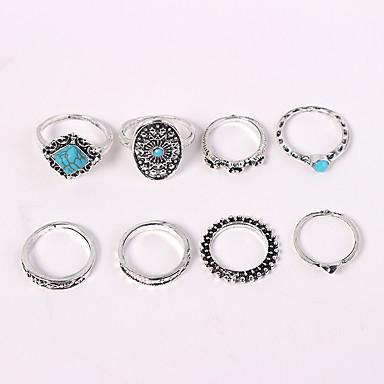 billige Ring Set-Dame Ring Set Midiringe Stable Ringer 8pcs Sølv Legering Geometrisk Form damer Vintage Europeisk Avslappet Daglig Smykker Retro