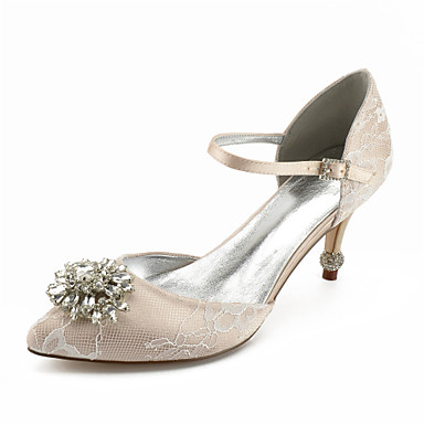 14d13137d57 Women s Shoes Lace Spring   Summer Basic Pump Wedding Shoes Stiletto Heel  Pointed Toe Rhinestone   Sparkling Glitter Silver   Champagne   Ivory    Party ...