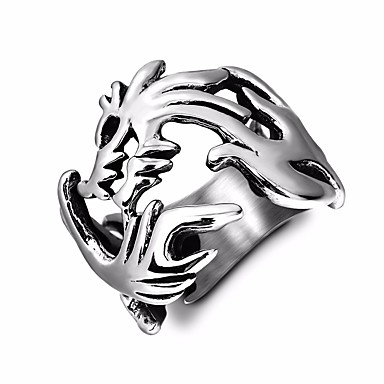 billige Motering-Herre Statement Ring 1pc Sølv Titanium Stål Rund Statement Vintage Europeisk Gate Klubb Smykker Retro Elegant Drage Kul