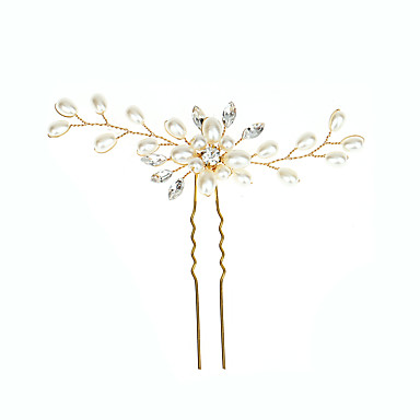 cheap Hair Jewelry-Women's Hair Sticks For Party Ceremony Criss Cross Crystal Fabric Alloy Gold Silver