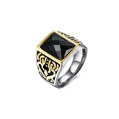 billige Motering-Herre Band Ring Statement Ring Signet Ring 1pc Svart Titanium Stål Glass Geometrisk Form Firkantet Vintage Punk Militær Bryllup Daglig Smykker Skulptur 3D Kul