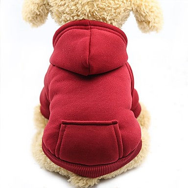 cheap Dog Clothes-Dog Cat Pets Sweater Hoodie Sweatshirt Solid Colored Sports & Outdoors Windproof Casual / Sporty Dog Clothes Purple Red Pink Costume Cotton XS S M L XL XXL