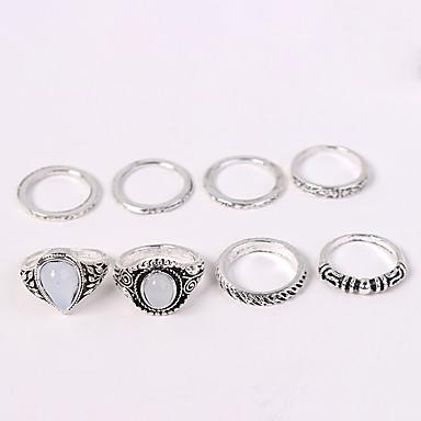 billige Ring Set-Dame Ring Set Midiringe Stable Ringer 8pcs Sølv Akryl Legering damer Vintage Europeisk Avslappet Daglig Smykker Retro Tåredråpe