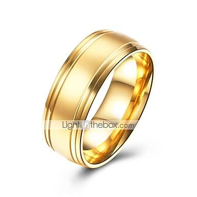 levne Pánské šperky-Pánské Band Ring 1ks Zlatá Nerezové Circle Shape Jednoduchý Základní Svatební Denní Šperky Klasika kreativita Cool